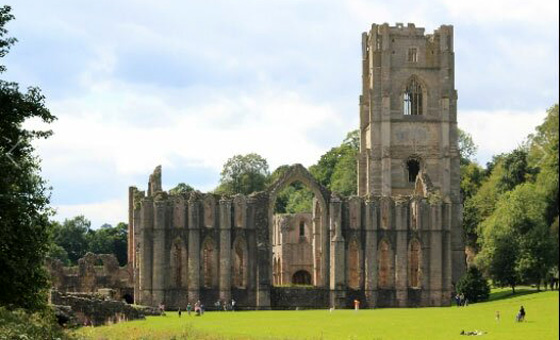 Fountains Abbey, one of many Yorkshire castles and abbeys