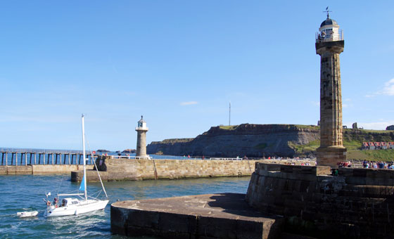 Lighthouses at the entrance to Whitby Harbour