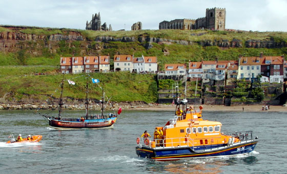 Whitby's Lifeboat returning to port